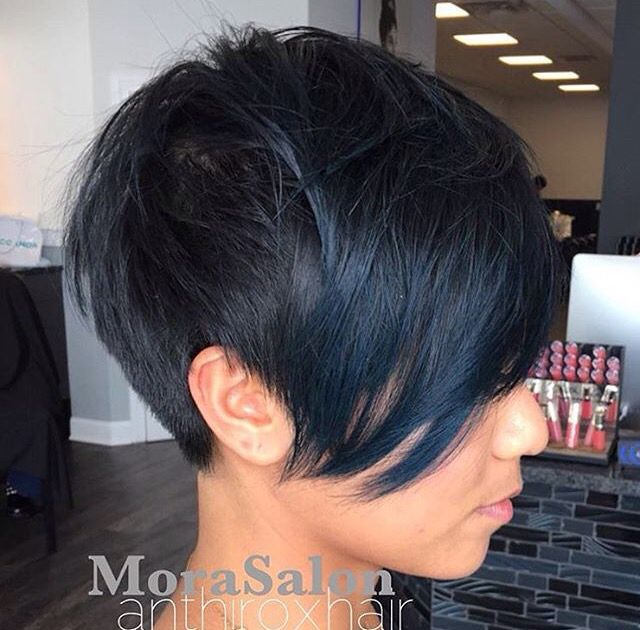 Blue black  Pixie cut