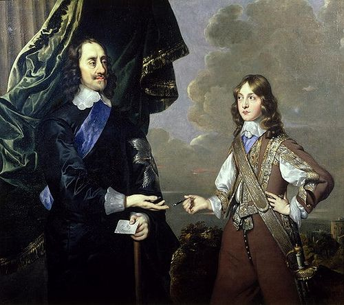 Charles I, King of England, son of James I, grandson of Mary, Queen of Scots, with his son Charles, later Charles II