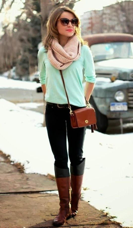Cute winter fashion with mint shirt, scarf and long boots