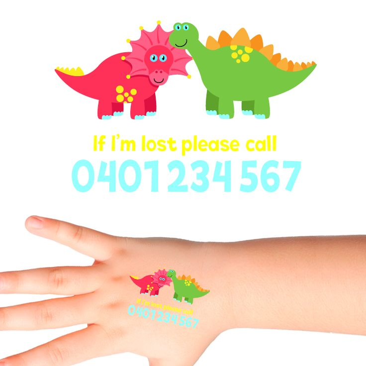 Dinosaurs Personalised Safety Tattoos #513 (32 pack)