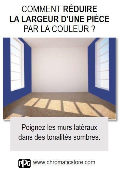 Peindre les murs latéraux d'une pièce dans des tonalités sombres permet d'en réduire la sensation de largeur. www.chromaticstore.com #couleur #réduire #largeurpièce