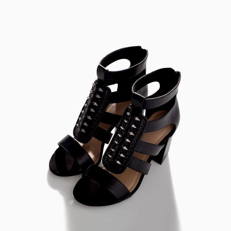 HIGH HEEL STRAPPY SANDAL WITH METAL PINS - Shoes - TRF - SALE | ZARA Canada Ref. 3615/301 79.90 CAD UPPER 100% POLYURETHANE LINING 40% POLYESTER 60% POLYURETHANE SOLE 100% VULCANIZED RUBBER