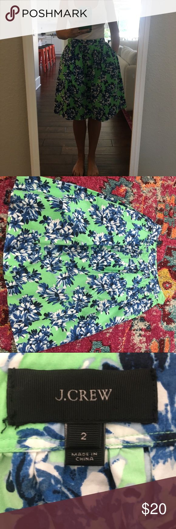 J crew full skirt Beautiful full skirt with pockets and side zipper. Great quality. Worn only a handful of times. Great condition. For reference, I'm 5'6 125 lbs J. Crew Skirts A-Line or Full