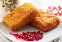 Fried Emmental Cheese with Cranberry Sauce - Gourmet Kitchen Tales