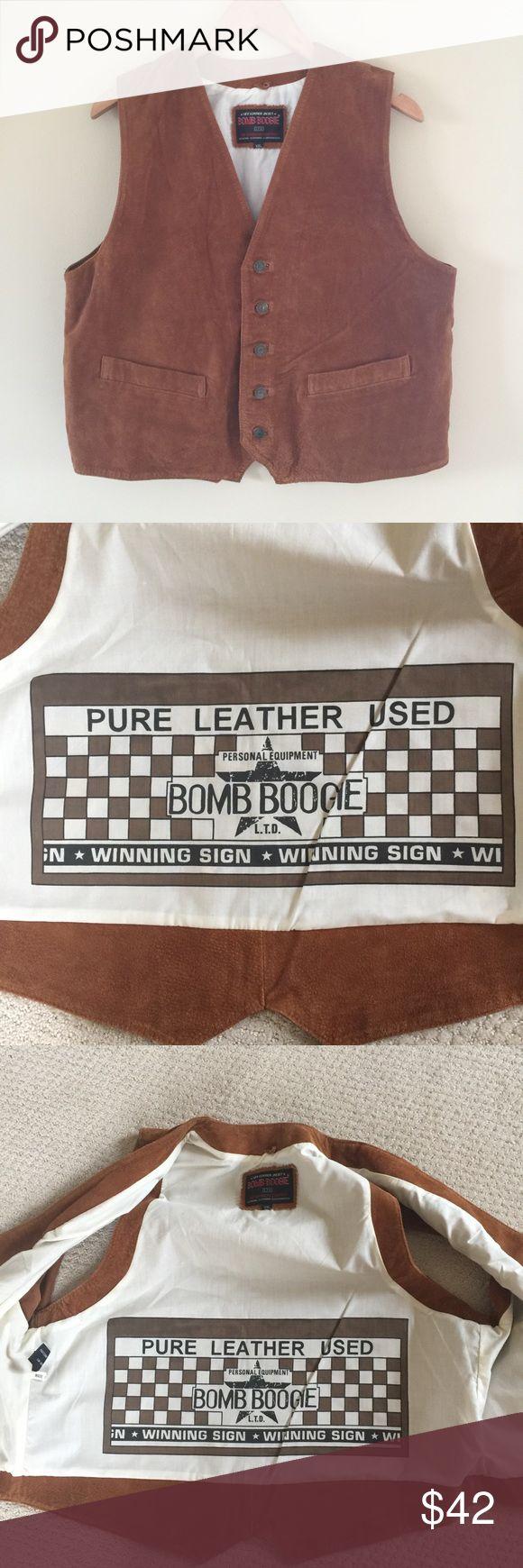 "Bomb Boogie Vintage 100% Leather Vest 100% leather vest, men's size XXL. Please do measure before purchasing; this is vintage so size runs small!!!   Armpit to armpit: 22""  Armpit to bottom: 13"" Bomb Boogie Jackets & Coats Vests"