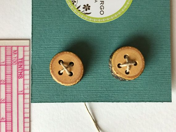 Two small buttons, handmade, natural wood. Free shipping for orders of 10 dollars or more- see details.