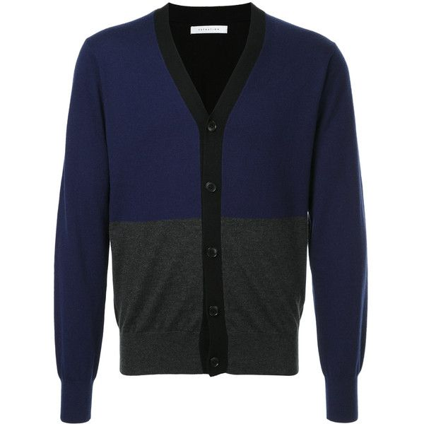 Estnation colour-block fitted cardigan ($335) ❤ liked on Polyvore featuring men's fashion, men's clothing, men's sweaters, blue, mens cardigan sweaters, mens wool sweaters, mens colorblock sweater, mens woolen sweaters and mens wool cardigan sweaters