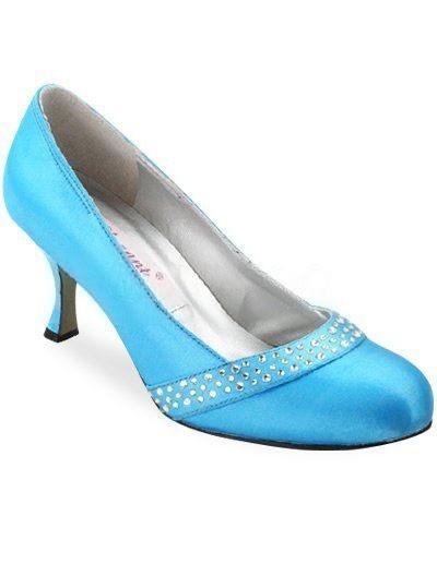 Blue 1 3/5 Heel Rhinestone Satin Wedding Shoes   Wedding Shoes