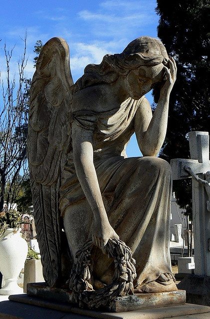 The sculptures in the old cemetery of Durango, Mexico. Angel