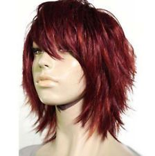 Details about Hot Sell New Fashion Short Dark Red Women Lady Cosplay Party Hair Wig Wigs + Cap