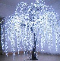 Comercio al por mayor de interior decoración del festival de Navidad artificial sauce blanco con LED para la iluminación del lago sauce llorón