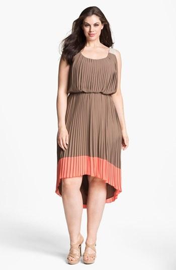 Jessica Simpson Pleated Colorblock Dress (Plus) available ...