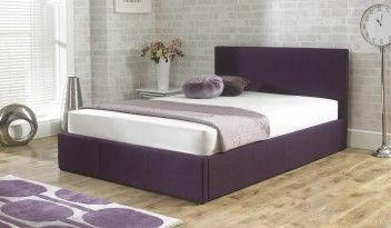 Stirling Fabric Ottoman Bed Plum