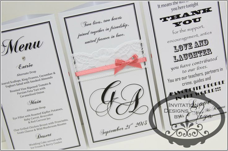 3 Sided Cards {Wedding} Coral, Black & White Theme www.facebook.com/InvitationDesignsByEliza