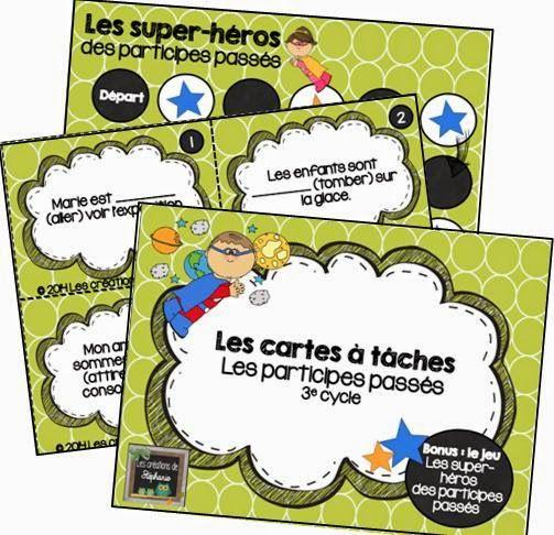 Les cartes à tâches : Les participes passés + Bonus : Les super-héros des participes passés