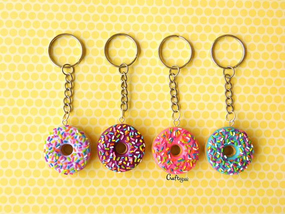 Donut keychain with sprinkles (different colors) / miniature food / polymer clay jewelry