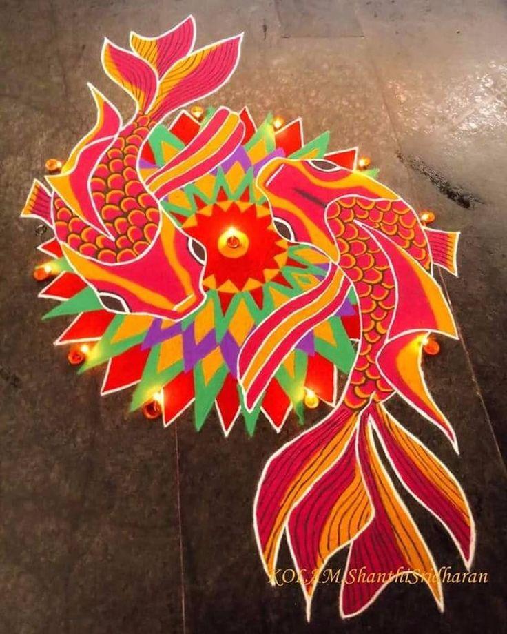 Free Hand Rangoli Design Ideas For Diwali in 2020 Free