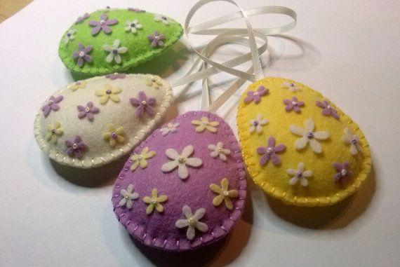 Felt easter decoration felt egg with tiny flowers / by DusiCrafts