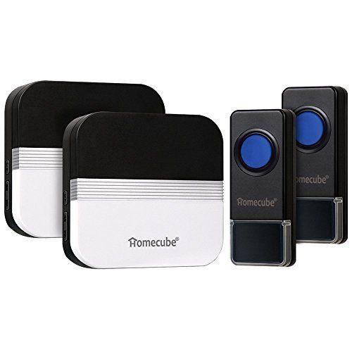 Homecube Portable Sonnettes sans fil 58 Chime / Plus de 1640 Ft Range / 2 Bouton poussoir Sonnette sans fil avec 2 Plug-in Récepteurs 4…