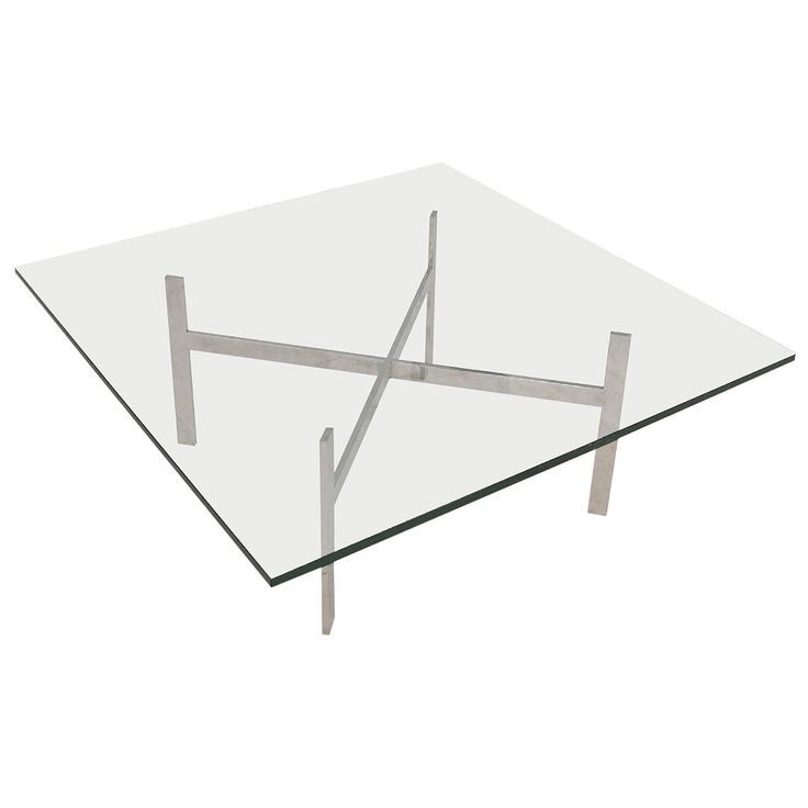 Mid Century Modern Glass Coffee Table In The Style Of Milo Baughman