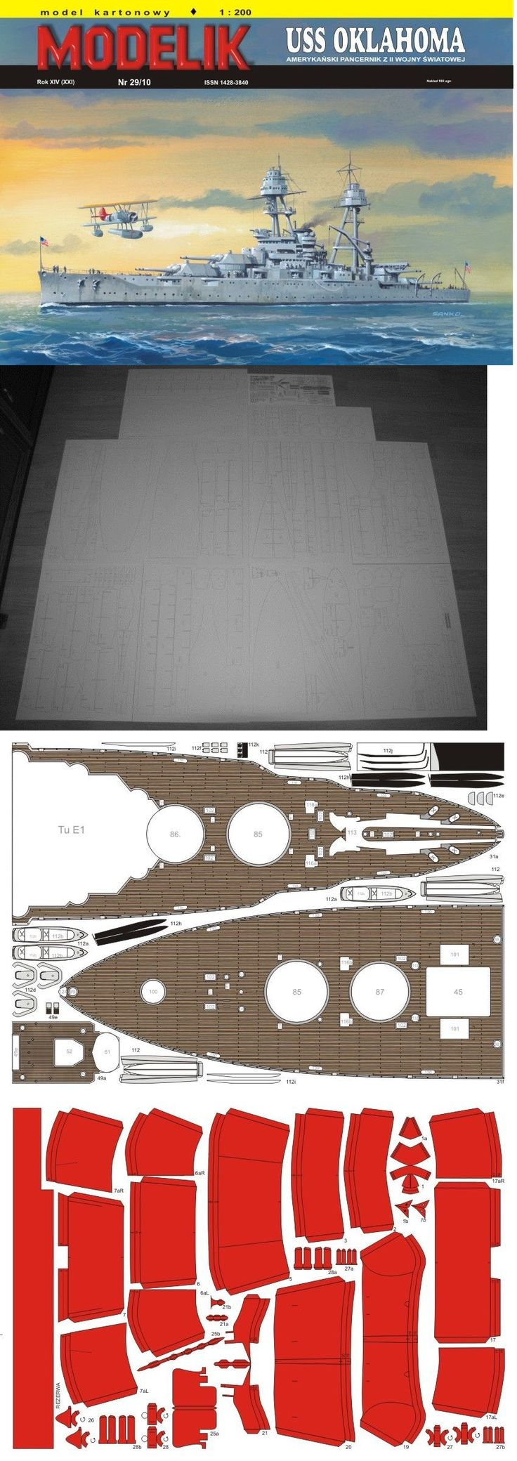 Other Boat Ship Models and Kits 4248: Uss Oklahoma Battleship Paper Cut Out Model Scale 1:200 + Laser Parts -> BUY IT NOW ONLY: $53.99 on eBay!