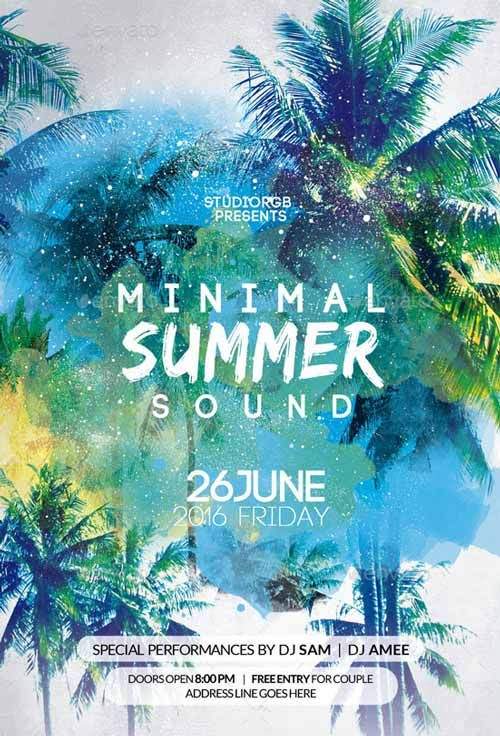minimal summer party flyer template on graphic design flyer