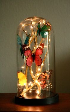 How to make a glass cloche filled with butterflies, fairy lights and golden branches - Magical Daydream