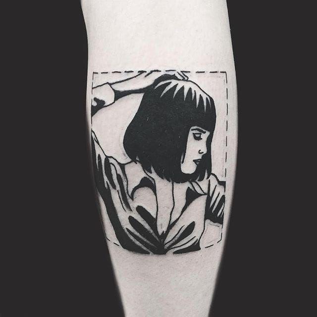 Pulp Fiction tattoo by Matt Cooley. MattCooley blackwork pulpfiction