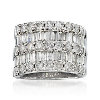 Ross-Simons - 3.45 ct. t.w. Diamond Wide Band Ring in 14kt White Gold - #797976