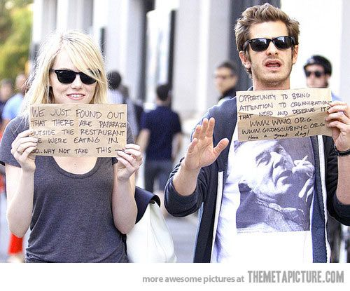 Emma Stone and Andrew Garfield being awesome. Here's a celebrity couple I actually like!