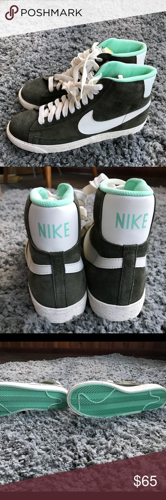 Nike Hi Tops (W) Nike Hi Tops for all the Girlfriends our there. These were never worn! Olive green with a white swoosh and aqua lining. Funky fresh. Won't last! Nike Shoes Sneakers