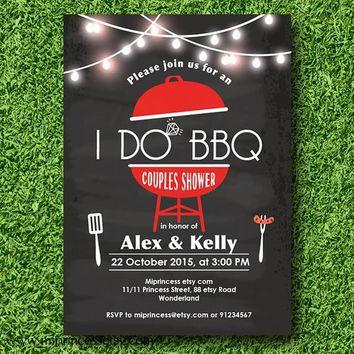 I Do BBQ Invitations, Wedding Shower Invites, Couples Shower BBQ, Wedding Shower BBQ Chalkboard, Engagement Party, Bridal bbq - card 597