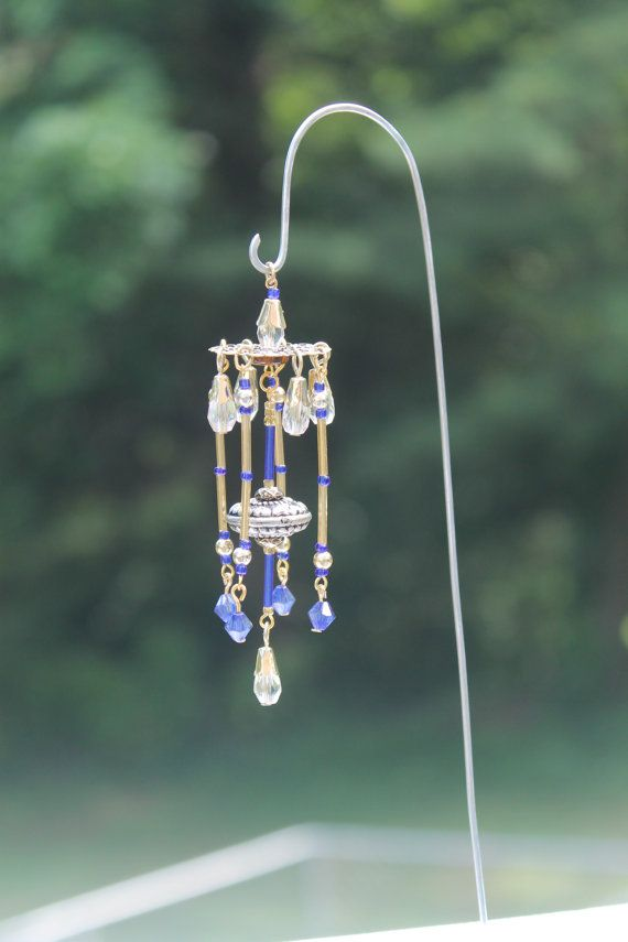 Miniature Fairy Garden Wind Chime, Dollhouse Windchime, Mini Garden  Accessory, Gold, Blue, And Clear