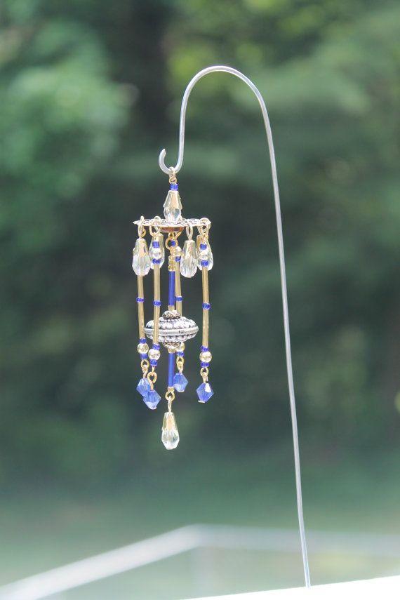 Miniature Fairy Garden Wind Chime, Dollhouse Windchime, Mini Garden  Accessory, Gold, Blue, And Clear