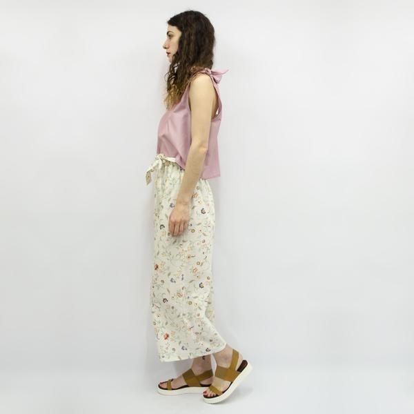 Wide Leg Trousers Hiraku in Ecru Floral Cotton – Akira Mushi