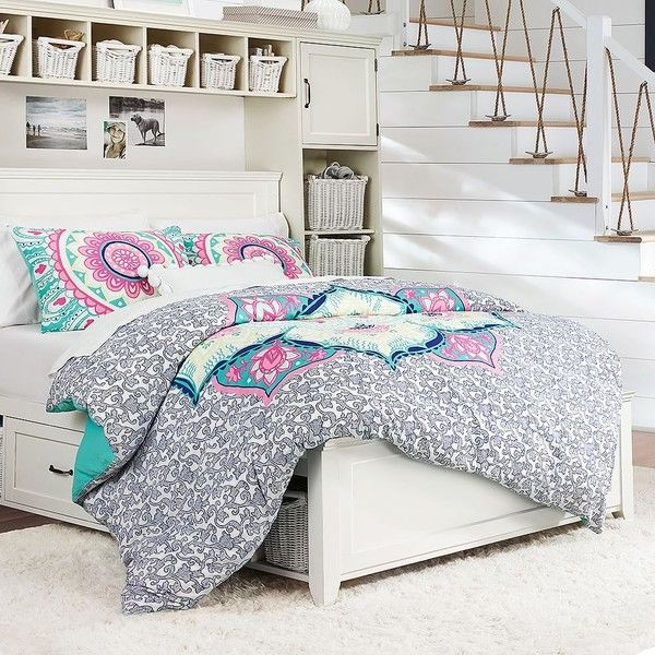 PB Teen Moondance Mandala Duvet Cover, Twin, Multi ($79) ❤ liked on Polyvore featuring home, bed & bath, bedding, duvet covers, twin bed linens, blue shams, twin xl bedding, cotton bedding and twin bedding