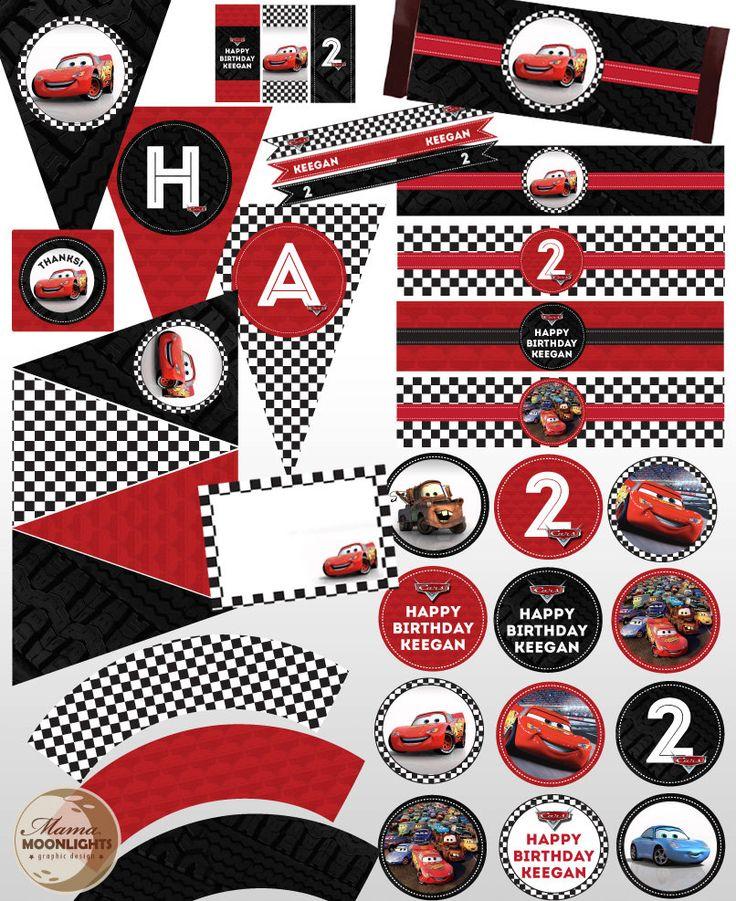 Disney Pixar Cars Custom Printable Birthday Party Package Kit Lightening McQueen Racing Checkered Flag, Red, Black. $20.00, via Etsy.