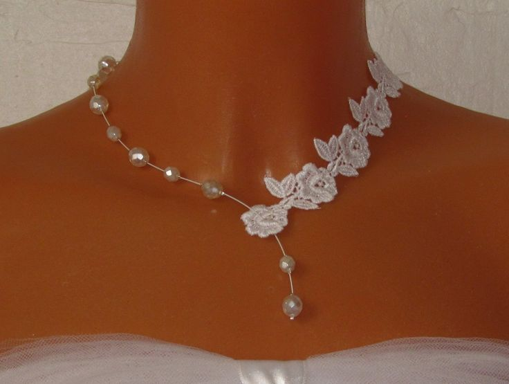 collier mariage guipure dentelle blanche perles nacres olivia - Gupire Mariage