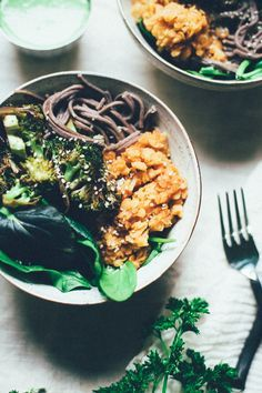 Get the recipe for this Roasted Tamari Broccoli Buddha Bowl! With buckwheat…