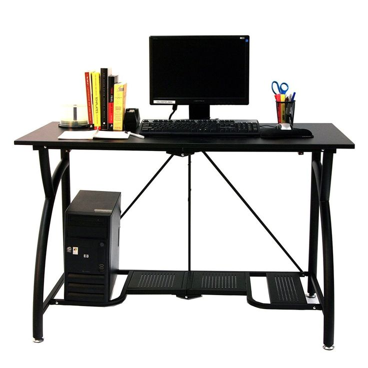 Computer Workstation Desk PC Office Furniture Steel Wood Writing Folds Shelf New #Origami #Contemporary