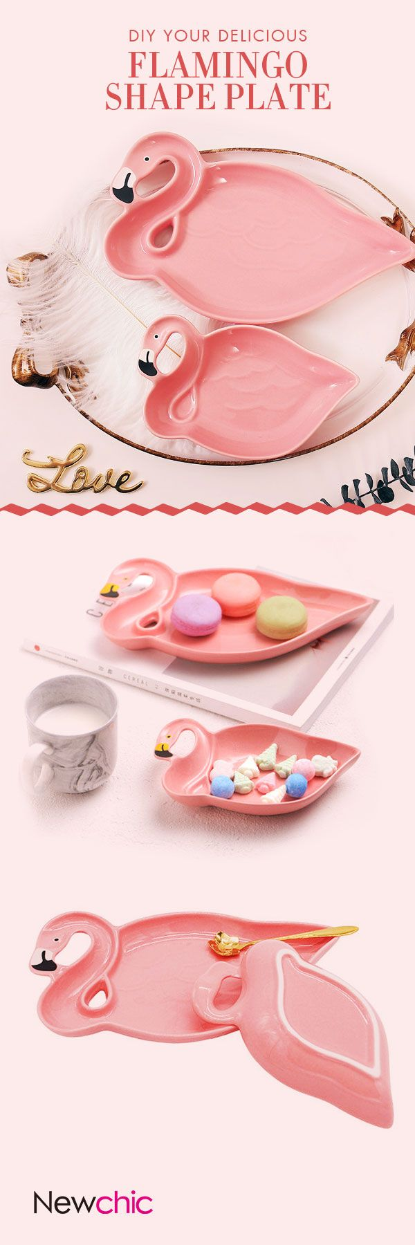 US$8.95Ceramic Snacks Dish Breakfast Tray Candy Pink Flamingo Shape Dessert Fruit Plate#newchic#kitchen#pink#christmas