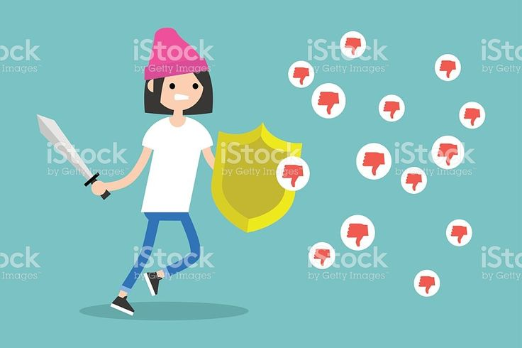 Young brunette girl fighting against negative reactions in social media royalty-free stock vector art