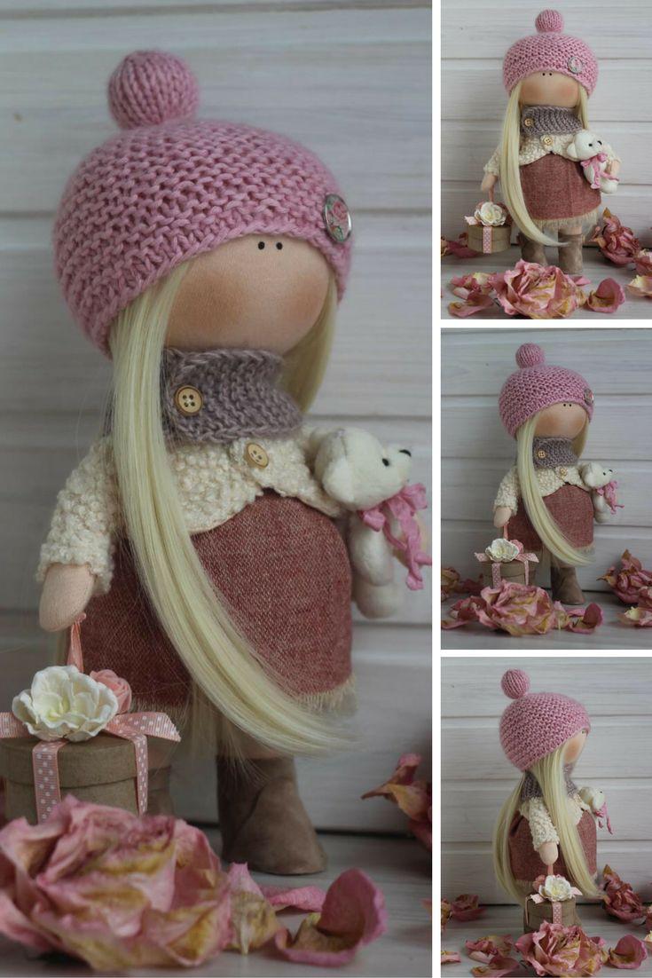 Rag doll Textile doll Tilda doll Handmade doll Fabric doll Brown doll Soft doll Cloth doll Baby doll Interior doll by Master Oksana Z