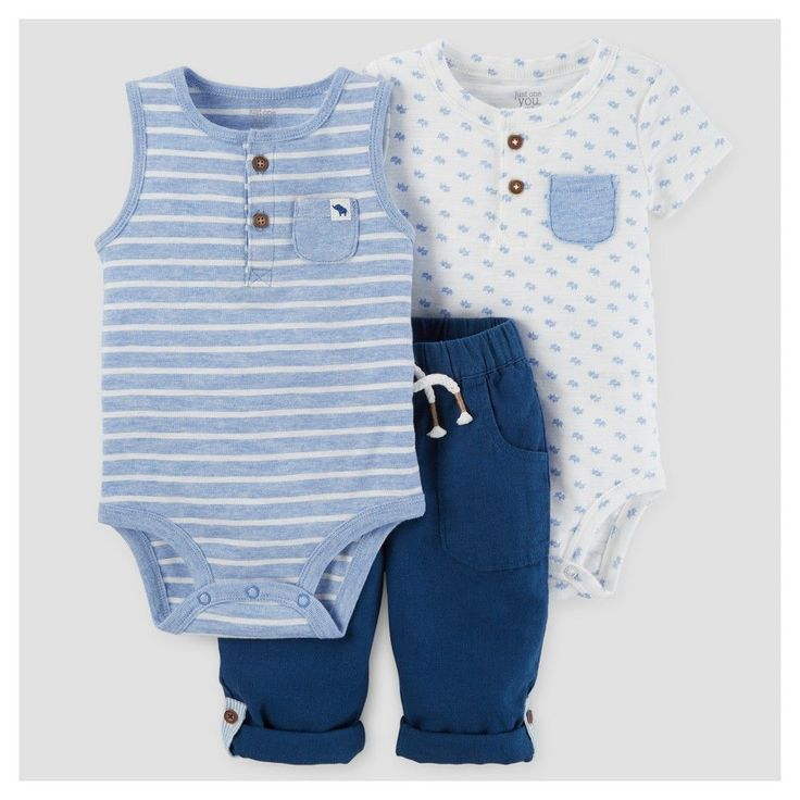Just One You Made by Carter's Baby Boys' 3pc Bodysuit and Pant Set - Blue 24M, Infant Boy's, Size: 24 M
