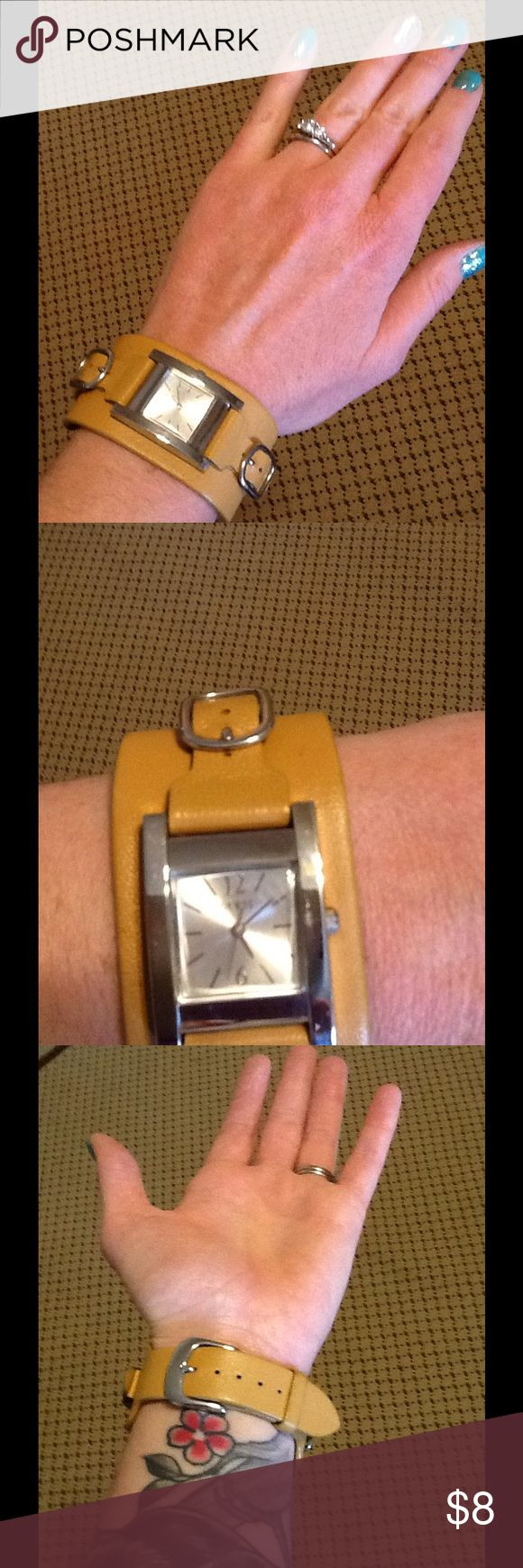 💰BOGO SALE💰Guess watch with Genuine Leather Band 💰BOGO SALE💰 Buy one get one free. This applies to all items marked with BOGO SALE. All items of equal or lesser value. Happy Poshing! ‼️‼️‼️‼️‼️‼️‼️‼️‼️Stylish Guess watch. Genuine Leather band in mustard color. Unfortunately, the battery is dead. Could easily be replaced at a jewelry store for a minimal cost. ⏱ Guess Accessories Watches