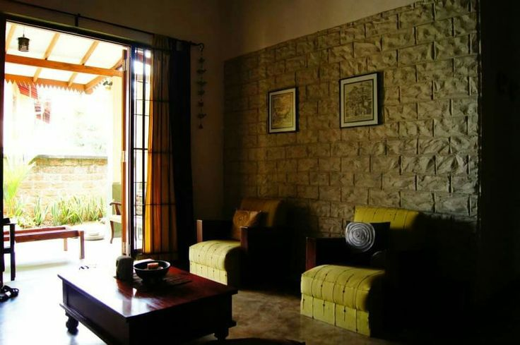 Living space.. natural stone feature wall.