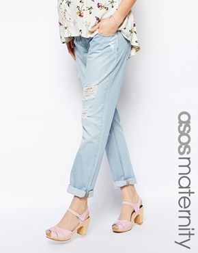 Enlarge ASOS Maternity Boyfriend Jean in Light Bleach Wash with Over the Bump Waistband