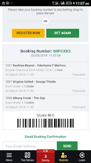 Booking Number: 6NFDJK7 02/03/2018 11:10:34 1321 Kashiwa Reysol - Yokohama F Marinos Double Chance