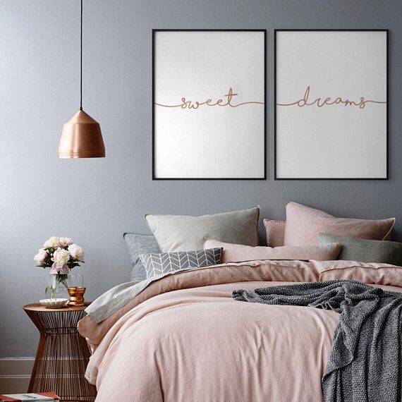 Sweet Dreams Rose Gold Print, Set of 2 Rose Gold Prints, Bedroom Wall Decor, Copper Over Bed Art, Nursery Print, Copper Sweet Dream Poster