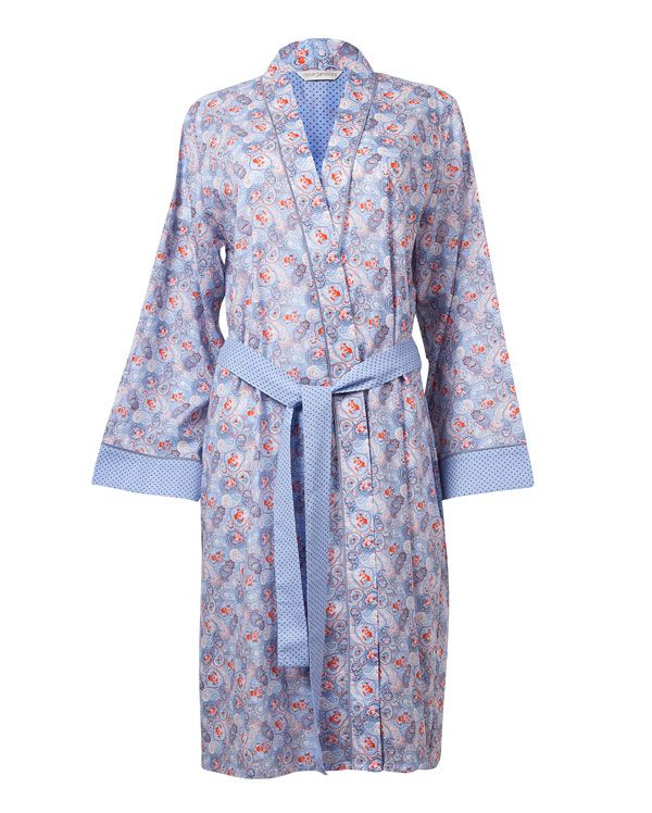 Eva Paisley Printed Robe  Elegant and luxuriously soft Paisley Printed Robe with a spot print at back buggy, tie and sleeve hem finished with modal piping from the Eva Range